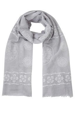 Sjaal  met roosachtig gomprint, Lichtgrijs