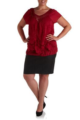 Geborduurde blouse en hals met knoopwerk, Tomaat