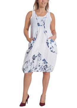Lange jurk in bedrukt linnen, Wit