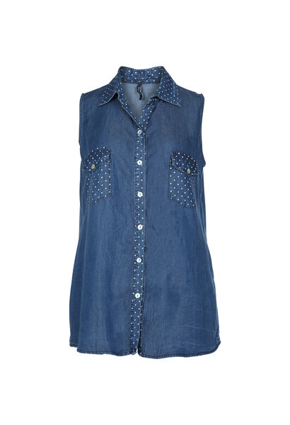 Gestipte blouse van tencel - Denim