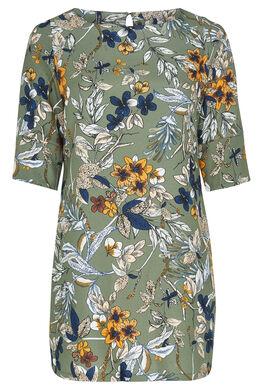 Robe imprimé floral, Kaki-clair