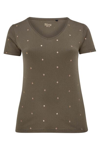 T-shirt imprimé pois en coton bio - Kaki