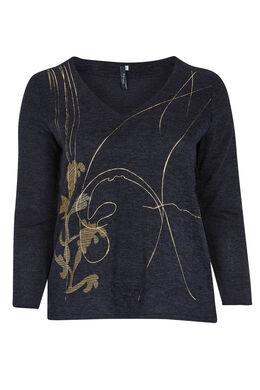 T-shirt van warm tricot met print voorop, Marineblauw