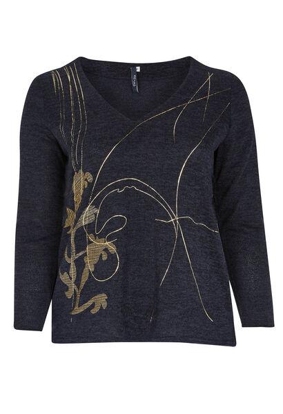 T-shirt van warm tricot met print voorop - Marineblauw