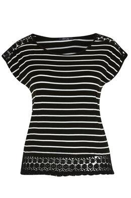 T-shirt met strepen en knoopwerk, Zwart