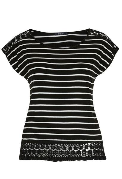 T-shirt met strepen en knoopwerk - Zwart