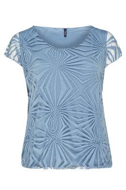 T-shirt van gevoerde voile, Lavendel