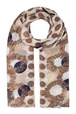 Sjaal met stippen en bloemen, Beige