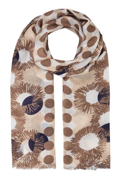 Sjaal met stippen en bloemen - Beige