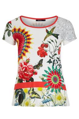 T-shirt met mandalaprint en strasvogel Wit