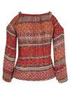 Etnische bloes met open schouders, Tomaat