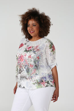 T-shirt met bloemenprint, Multicolor