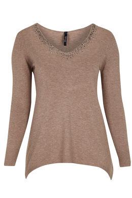 Puntvormige trui met strassteentjes, Beige