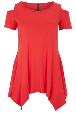 T-shirt met open schouders en asymmetrisch onderaan, Kers