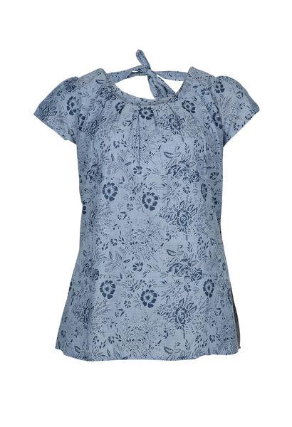 Katoenen blouse met strik op de rug - Indigo