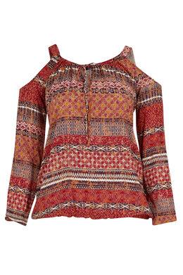 Etnische bloes met open schouders Tomaat