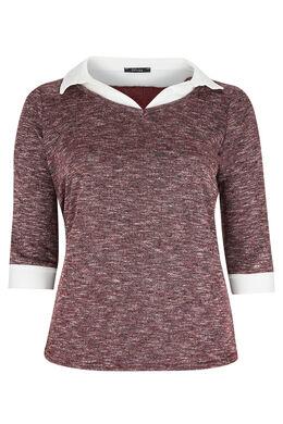 T-shirt molleton chiné et col chemise, Prune