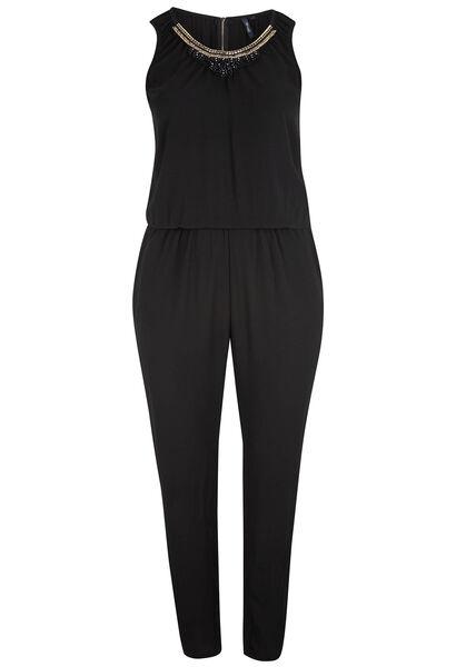 Jumpsuit met halsjuwelen - Zwart