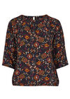 Blouse in floral print, Marineblauw