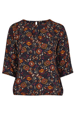 Blouse in floral print Marineblauw