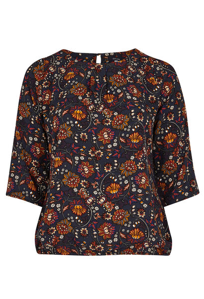 Blouse in floral print - Marineblauw