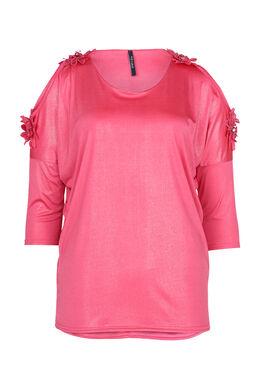 T-shirt épaules dénudées avec grosses fleurs, Fushia