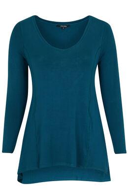 T-shirt in viscose met punteffect, Emerald groen