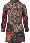 Jurk in bedrukt, warm tricot., Multicolor