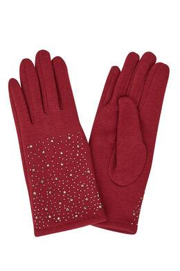Handschoenen met strassteentjes Bordeaux