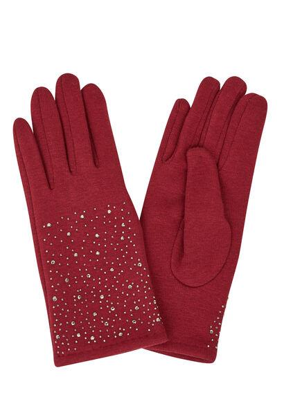 Handschoenen met strassteentjes - Bordeaux