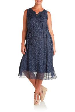 Lange jurk in bedrukte zijde Marineblauw