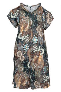 Robe longue imprimé ethnique, Kaki