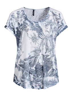 T-shirt in linnentricot met lovertjes   Wit
