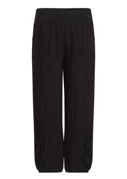 7/8-broek in linnen, Zwart