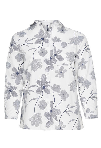 Tweekleurige blouse met bloemenprint - Wit