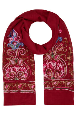 Sjaal met geborduurde folklorebloemen, Bordeaux