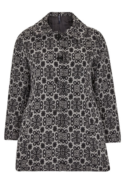 Mantel in barokke stijl, Claudine kraag - Zwart