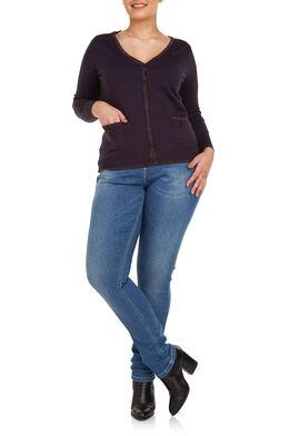 Vest met lurex Marineblauw