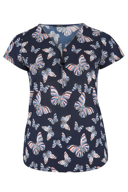 T-shirt van luchtig tricot, bedrukt met vlinders, Marineblauw