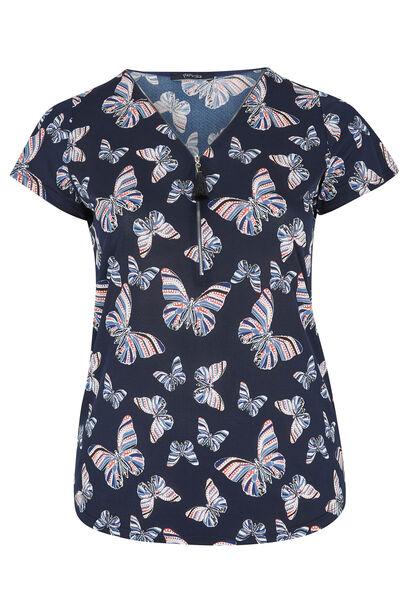 T-shirt imprimé papillons maille froide - Marine