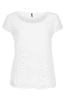 T-shirt van gevoerde voile, Wit