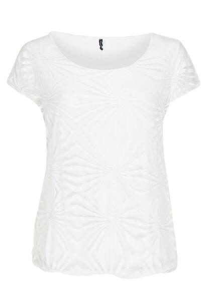 T-shirt van gevoerde voile - Wit