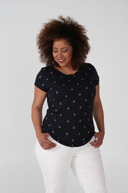 T-shirt met kersenprint, Marineblauw