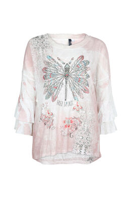T-shirt imprimé fantaisie, Blush