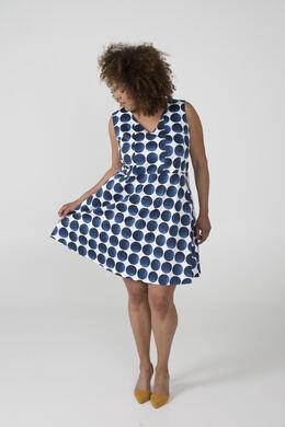 Katoenen jurk met cirkelprint, Marineblauw