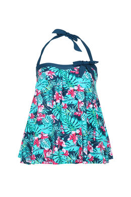 Haut de tankini imprimé tropical, multicolor