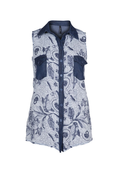 Mouwloze blouse van tencel met print - Wit