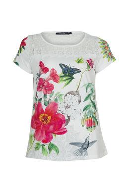 T-shirt met print en knoopwerk, Wit