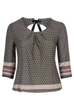 T-shirt in bedrukt koel tricot  Zwart