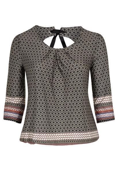 T-shirt in bedrukt koel tricot  - Zwart